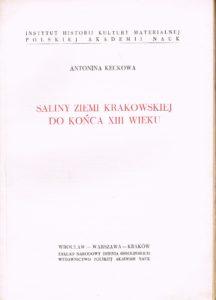 Saliny ziemi krakowskiej do końca XIII wieku. Produkt antykwaryczny. Książka używana
